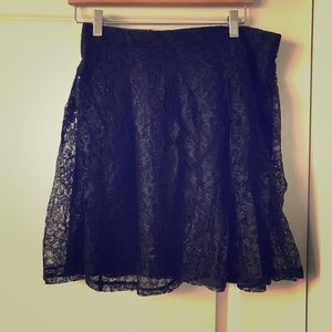 Express lace lined high waisted skirt black 12